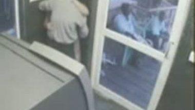 Girl Opening Brazer In ATM Room