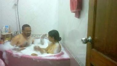 Shower bath with mature bhabhi in bath tub