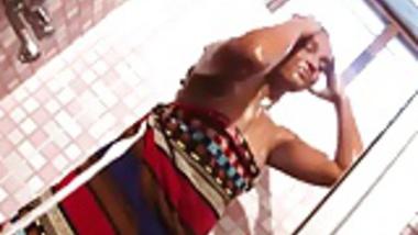 Young girl bathing