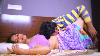 Bollywood desi aunty romances lover in bedroom
