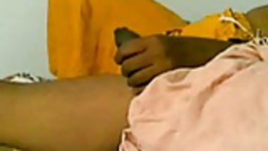 Southindian Busty Aunty doing handjob to Partner's Cock