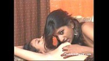 Indian lesbian teen biting her girlfriend's nipples