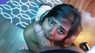 Indian girl giving a deep blowjob