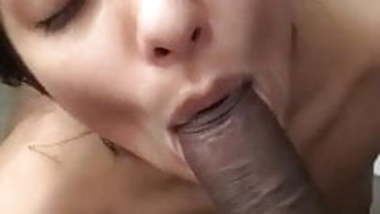 Hot babe giving blowjob