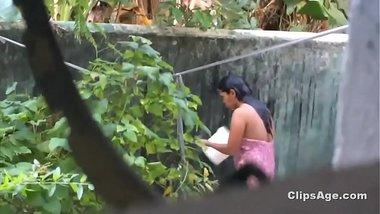 Desi friend's sister bath spy from kitchen