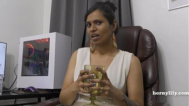 Mommy's Indian friend HornyLily flirts and pees on her panties for you pov