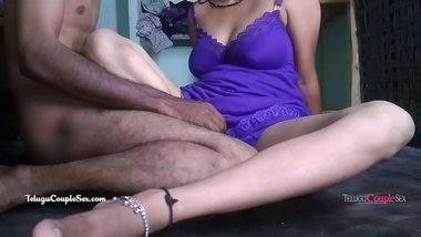 telugu bhabhi in blue night dress fucked hard on floor by desi indian husband