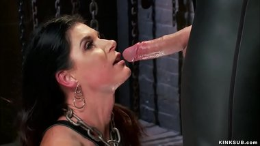 Bound MILF takes big cock up her ass