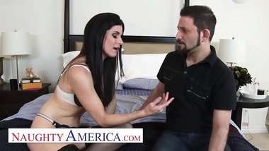 Naughty America - India Summer's husband cheated on her, so she invites her personal trainer over to have him fuck her while her husband watches!