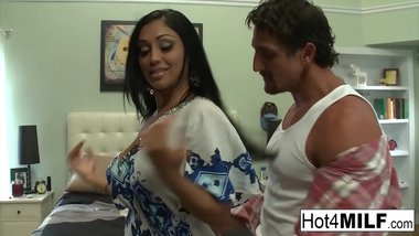 Big tit Indian MILF gets a big load on her ass