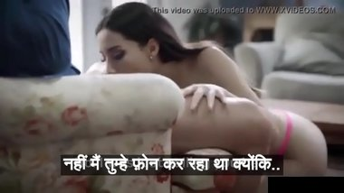 Young slut hungry for only married cock begs to be fucked while wife is on phone - Hindi subtitles by Namaste Erotica dot com