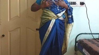 des indian horny cheating tamil telugu kannada malayalam hindi wife vanitha wearing blue colour saree showing big boobs and shaved pussy press hard b