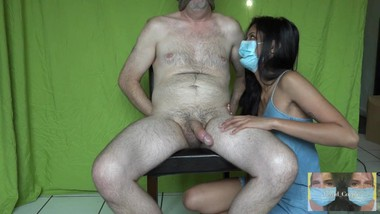 Handjob and Oral Creampies and Cum Swallowing Passions during Lockdown with Mask on