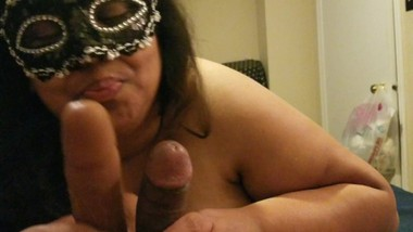 BBW Wife Cuckold SPH husband 6 inch dick with 8 inch BBC Dildo Cums hard