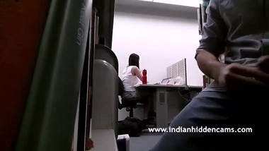 horny indian men masturbating for her female colleague in office