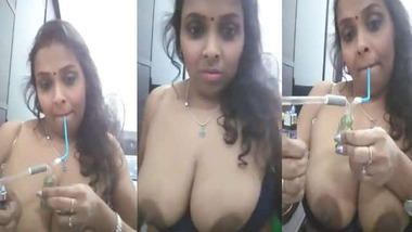 Booby Bhabhi smoking hookah and exposing her topless body