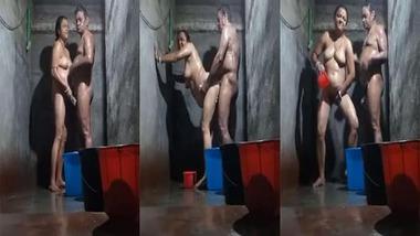 Mature couple bathroom sex video looks hot