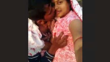 Desi Couple Kissing & Boobs Press Outdoor