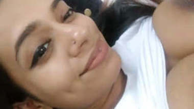 Cute srilanken girl making selfie video