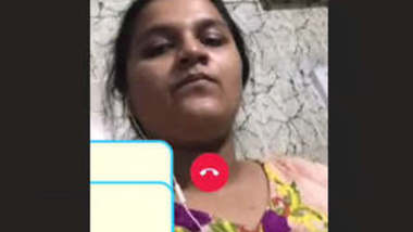 Sexy bhabhi showing her little shaved pussy on video call to lover
