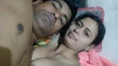 Bengali Bhabhi with her Husband Playing Boob