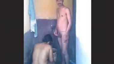 Desi Couple Bathing