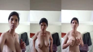 Naughty big tits girl teasing selfie MMS video