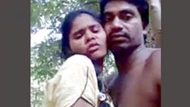 Horny couple outdoor romance