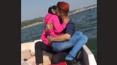 Desi hot couple kissing on boat