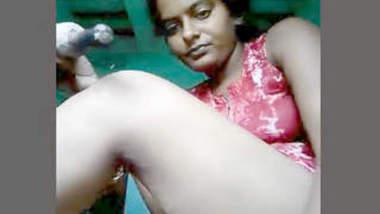 Super horny girl masturbating with big belon
