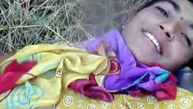 Indian girl enjoying with boyfriend in outdoor
