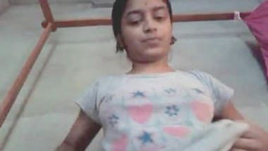 Cute collage girl video chat with her bf and fing