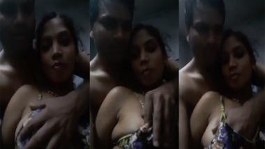 Desi Bhabhi boob press by devar during their selfie video