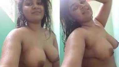 Desi village cute wife nude bath show