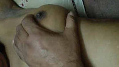 indian wife boobs pressing and blowjob