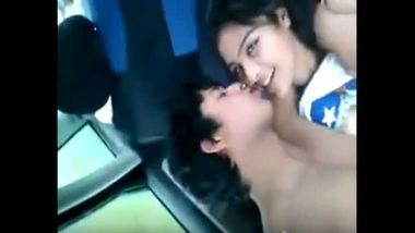 Beautiful girl enjoys outdoor sex with lover in his car