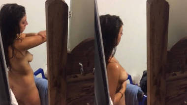 Sexy Desi Girl after Bath removing Towel and applying Lotion