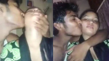 Guy squeeze his cousin sister boobs n kisses her