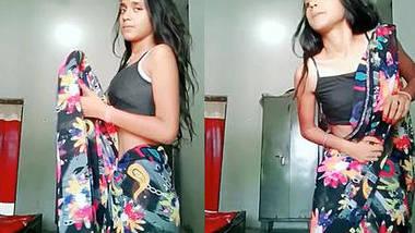 Sexy petite girl saree drop