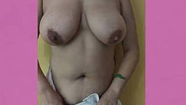 Desi wife removing dress showing big boobs