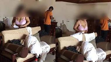 big boob desi wife soniya in bra & shorts teasing room service boy