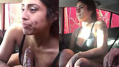 Sexy GF sucking and fucking with BF in car before going to work