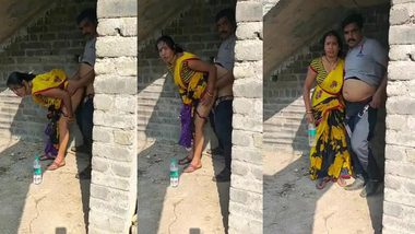 Desi Couple caught fucking outdoor XXX sex