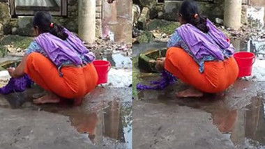 Hot Desi Wife Washing Cloth And Showing Her Full