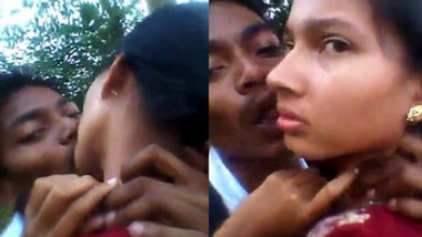 Lovers Smooching Passionately In Outdoor