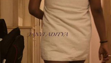 Indian wife exposing to room service guy wearing towel