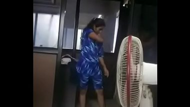 Sexy Telugu Girl Changing Dress At Office