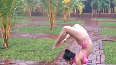 Desi outdoor gymnastics by desi girl Akshara in bikini