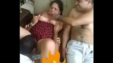 Indian Aunty's Hot Threesome Sex