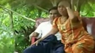 Aunty fucked neighbor uncle in park in front of a stranger